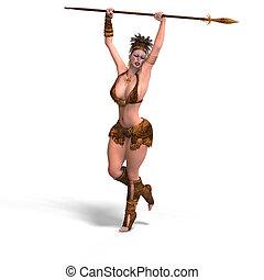excitado, femininas, fantasia, bárbaro
