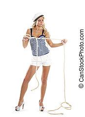 excitado, femininas, marinheiro