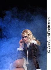 excitado, gelo, princesa, com, azul, fumaça