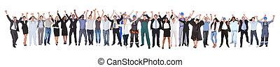 excitado, gente, con, diferente, ocupaciones, celebrar,...