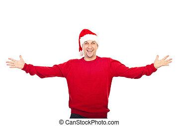 excitado, homem, com, chapéu santa, dando boas-vindas
