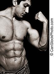 excitado, homem, com, muscular, bíceps, e, abs