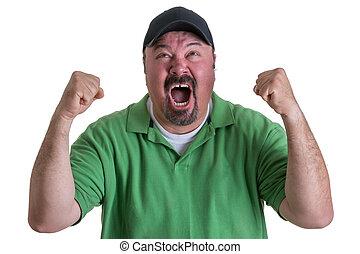 excitado, homem, desgastar, camisa verde, celebrando