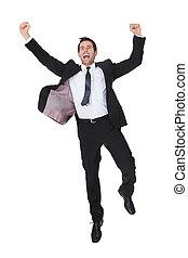 excitado, homem negócios, celebração, sucesso