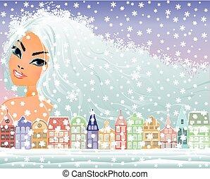 excitado, inverno, menina, vetorial
