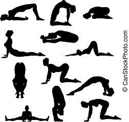 excitado, ioga, silouettes