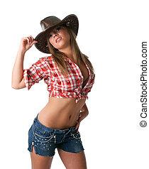 excitado, jovem, cowgirl, levantar, com, pelado, estômago