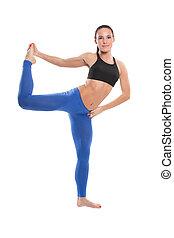 excitado, jovem, ioga, mulher, fazendo, yogic, exercício, ligado, isolado, fundo branco, a, conceito, de, desporto, e, saúde