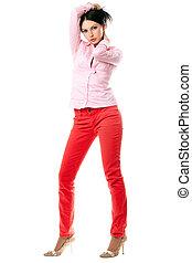 excitado, jovem, morena, em, camisa cor-de-rosa