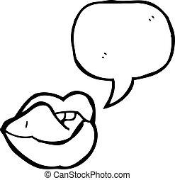 excitado, lábios, caricatura