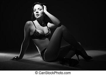 excitado, lingerie., mulher