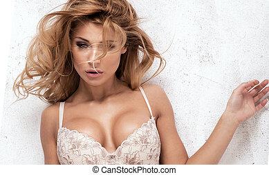 excitado, loiro, mulher, lingerie.