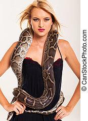 excitado, loiro, mulher, posar, com, python