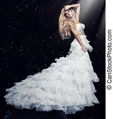 excitado, loura, mulher, em, vestido branco