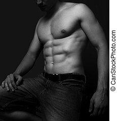 excitado, músculos, abdome, homem
