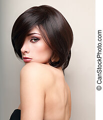 excitado, maquilagem, femininas, modelo, com, pretas, cabelo curto