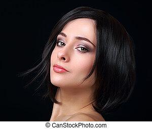 excitado, maquilagem, mulher, com, shortinho, cabelo preto