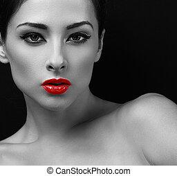 excitado, maquilagem, mulher, com, vermelho, lipstick., preto branco, retrato