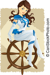 excitado, marinheiro, menina, pino
