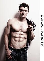 excitado, masculino, homem, com, muscular, abs