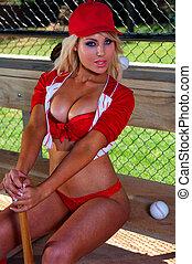 excitado, menina, basebol