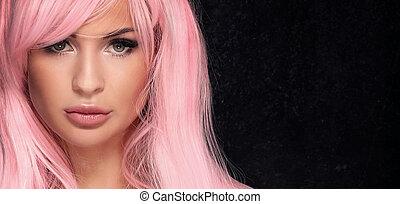 excitado, menina, com, cor-de-rosa, hair.