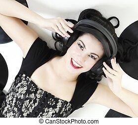 excitado, menina, com, phonography, análogo, registro
