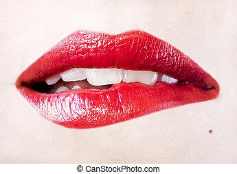 excitado, menina, lábios