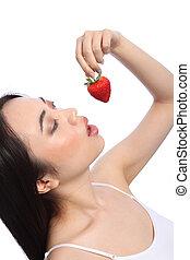 excitado, menina oriental, comer, vermelho, moranguinho,...