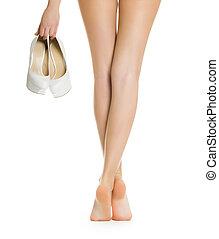 excitado, menina, pernas, esbelto, mostra
