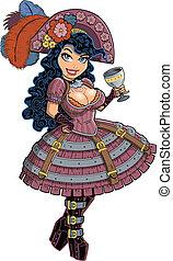 excitado, menina, pirata, steampunk