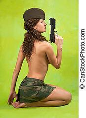 excitado, militar, mulher