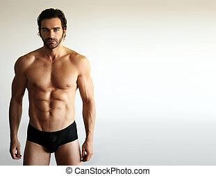 excitado, modelo, macho, condicão física