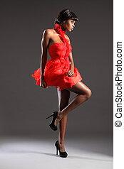 excitado, modelo moda, em, vestido vermelho