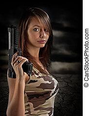excitado, mulher, arma, segurando