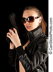 excitado, mulher, armas