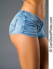 excitado, mulher, calças brim, shorts