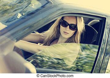 excitado, mulher, car
