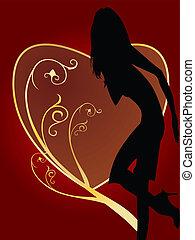 excitado, mulher, cartão, valentine