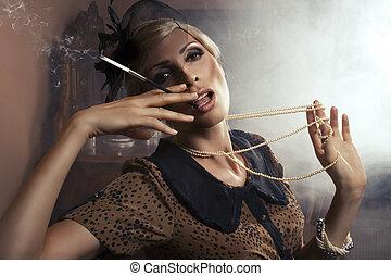 excitado, mulher, cigarro