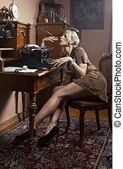 excitado, mulher, cigarro fumando