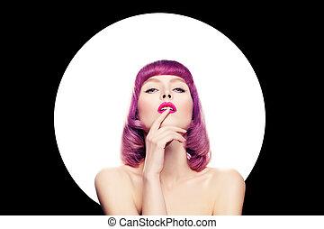 excitado, mulher, com, coloridos, maquilagem, e, cabelo