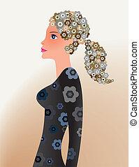 excitado, mulher, com, floral, cabelo