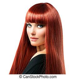 excitado, mulher, com, longo, brilhante, direito, cabelo vermelho, isolado, branco