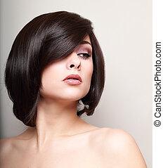 excitado, mulher, com, shortinho, pretas, hair., cabelo, style., closeup