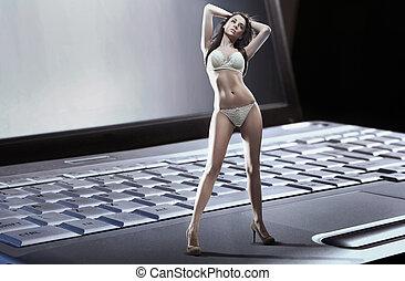 excitado, mulher, desgastar, langerie, ficar, n, laptop