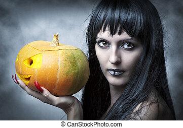 excitado, mulher, dia das bruxas, makeup.
