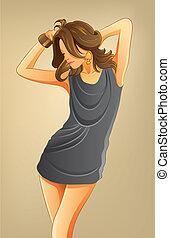 excitado, mulher, em, shortinho, vestido