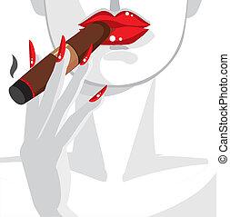 excitado, mulher, em, vermelho, fumar, um, charuto