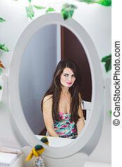excitado, mulher, espelho